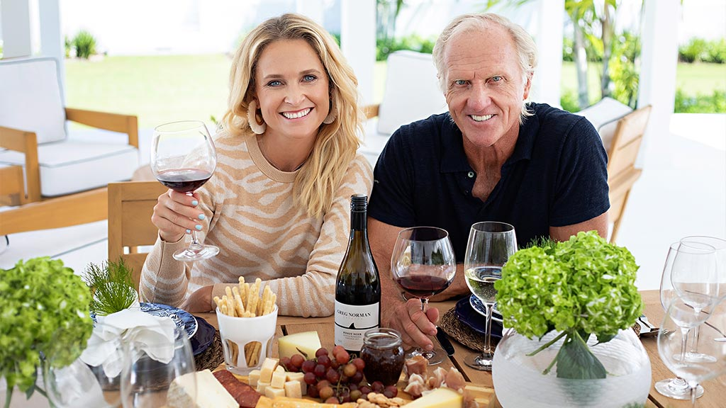 Image of Greg Norman and Morgan-Leigh Norman in Wine Cellar